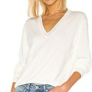 RAG & BONE Women's Kento V-Neck White Sweater L